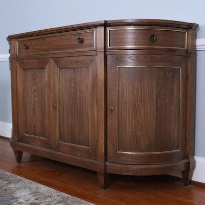 Vanguard Furniture Oak Demilune Sideboard Buffet with Brass Tone Trim