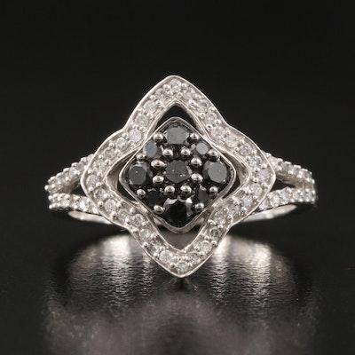 14K 0.51 CTW Diamond Quatrefoil Halo Ring