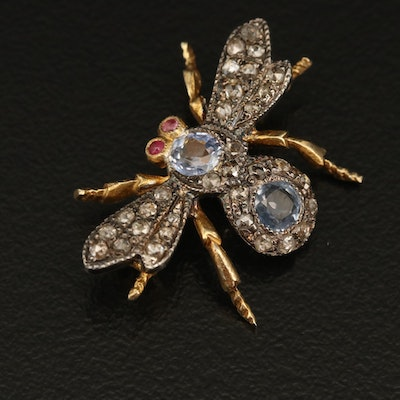 Antique Style Sterling Bee Brooch with Sapphire, Ruby and Diamond