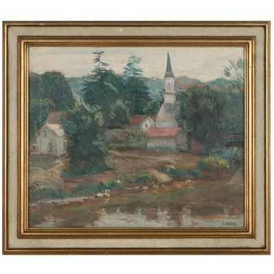 Oil Painting of Village Scene, Early to Mid-20th Century