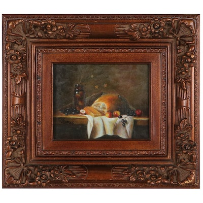 Still Life Oil Painting of Food, Late 20th Century