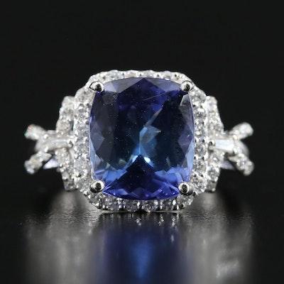 Platinum 7.09 CT Tanzanite and Diamond Statement Ring