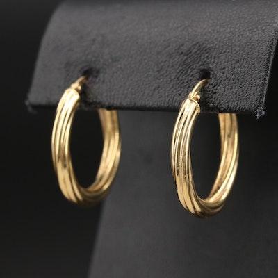 18K Italian Gold Fluted Hoop Earrings