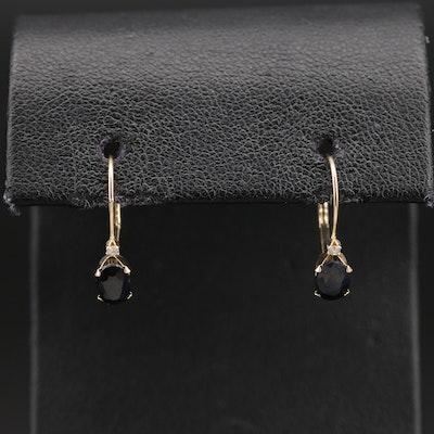 14K Sapphire and Diamond Drop Earrings
