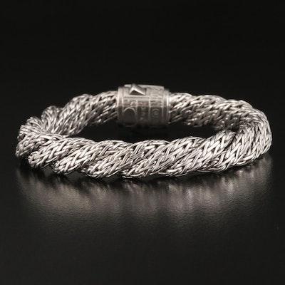 John Hardy Sterling Pavé Sapphire Flat Twist Bracelet