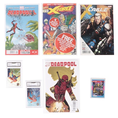 """Modern Age Marvel Comics Including """"Deadpool"""" With Additional Trading Cards"""