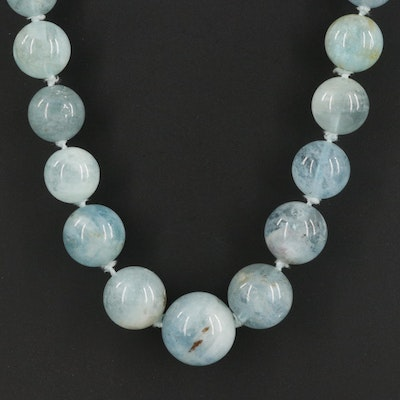 Graduated Aquamarine Beaded Necklace with Sterling Silver Clasp