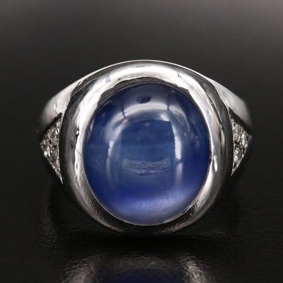 14K Star Sapphire and Diamond Dome Ring