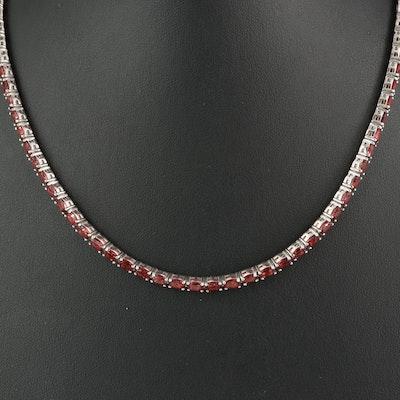 Sterling Silver Garnet Riviére Necklace