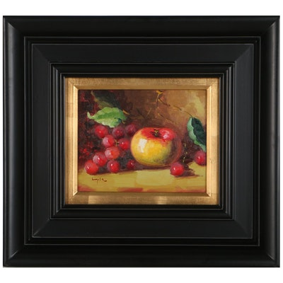 Still Life Oil Painting of Fruit, Late 20th Century