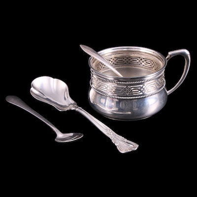 Wilhelm Binder German 800 Silver Condiment Jar and Other Sterling Silver Spoons