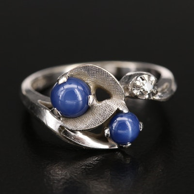 14K Star Sapphire and Diamond Ring with Florentine Finish