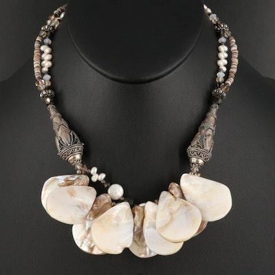 Tres Jolie Sterling Pearl, Mother of Pearl and Glass Necklace