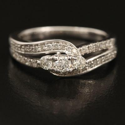 10K 0.50 CTW Diamond Wave Ring with Split Shoulders
