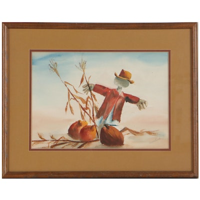 Watercolor Painting of Scarecrow and Pumpkins, Late 20th Century