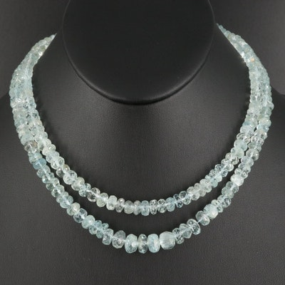 Double Strand Graduated Aquamarine Bead Necklace with Sterling Clasp