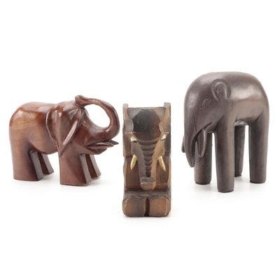 Austin Products Inc. Ceramic Elephant with German and Other Carved Elephants