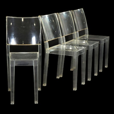 """Four Contemporary Starck for Kartell """"La Marie"""" Transparent Side Chairs"""