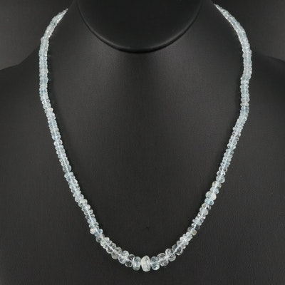 Graduated Aquamarine Necklace with Sterling Silver Clasp