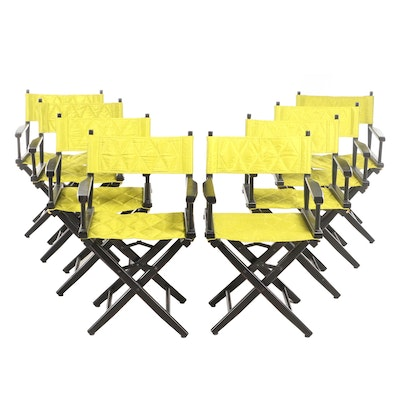 Eight Black Director's Chairs in Quilted Chartreuse