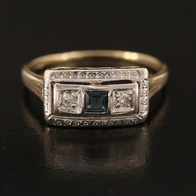 Art Deco 14K Sapphire and Diamond Ring with Platinum Top