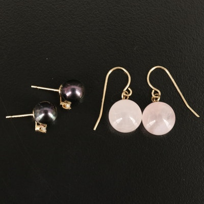 Rose Quartz Earrings with 14K Pearl and Diamond Earrings