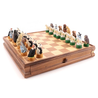Endangered Species Wildlife Animal Resin and Wood Chess Set