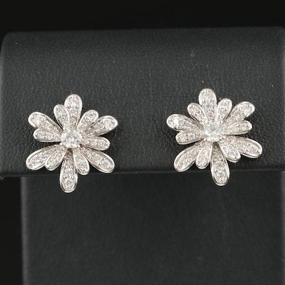 10K 1.40 CTW Diamond Floral Earrings