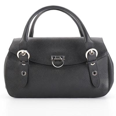 Salvatore Ferragamo Gancini Handbag in Black Saffiano Leather