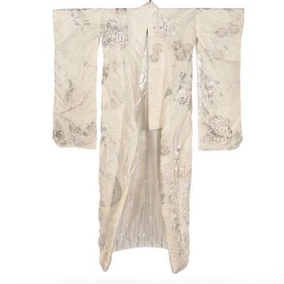 Floral Metallic Embroidered Furisode Shiromuku Wedding Kimono