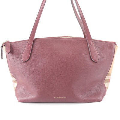 """Burberry Welburn Tote Large in Burgundy Grained Leather and """"House Check"""" Twill"""