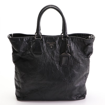 Prada Two-Way Shopping Tote in Black Nappa Antique Leather