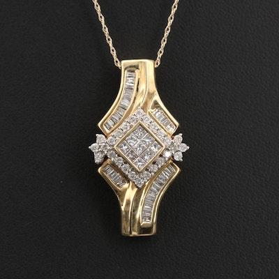10K 0.98 CTW Diamond Pendant Necklace