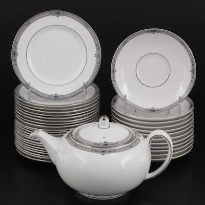 """Wedgwood """"Amherst"""" Platinum Trim Bone China Dinnerware, 1984-2012"""