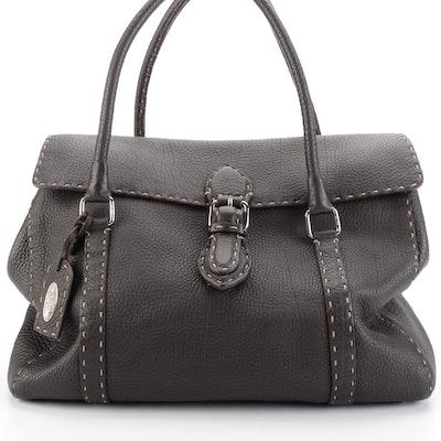Fendi Selleria Linda Satchel in Contrast Stitched Dark Brown Pebbled Leather