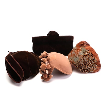 Jana Velvet Clutch with Betmar, Jonquil and Lucielle's Crescent Hats and Hat Box