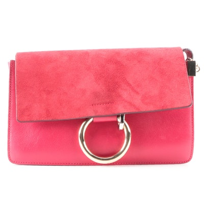 Chloé Faye Shoulder Bag Small in Red Suede and Leather