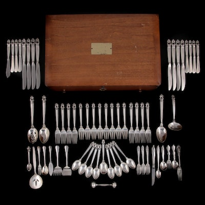 """International Silver """"Royal Danish"""" Sterling Silver Flatware with Other Flatware"""