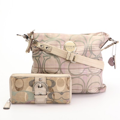 Coach File Bag in Signature Stripe Plaid and Metallic Leather with Zip Wallet