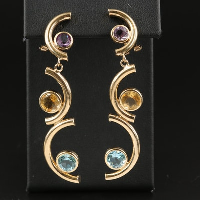 14K Tiered Half Circle Drop Earrings with Sky Blue Topaz and Amethyst