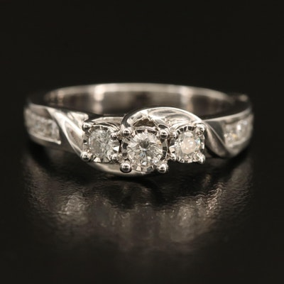 10K 0.50 CTW Diamond Ring with Channel Shoulders