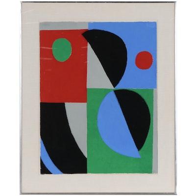 """Sonia Delaunay Gouache Pochoir """"Poésie de Mots, Poésie de Couleurs,"""" 1961"""