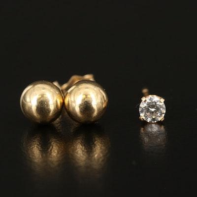 14K Ball Stud Earrings and Single Cubic Zirconia Stud Earring