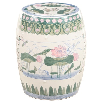Chinese Polychrome-Glazed Ceramic Garden Stool