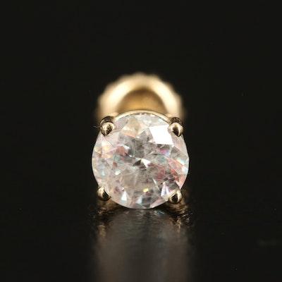 Single 14K Gold 0.73 CT Diamond Stud Earring