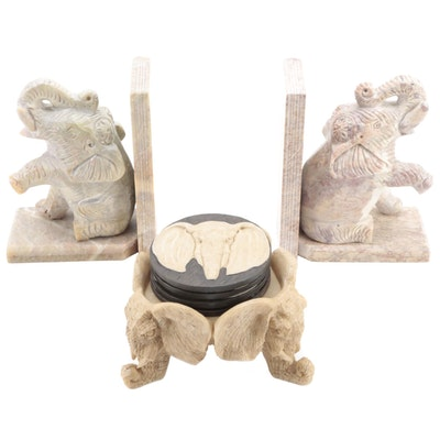 Carved Soapstone Elephant Bookends with Resin Coasters and Stand