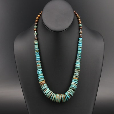 Graduated Coin Turquoise and Tiger's Eye Sterling Necklace