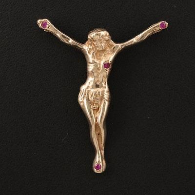 14K Ruby Crucifix Pendant