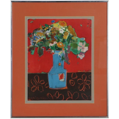 Still Life Lithograph After Roger Bezombes