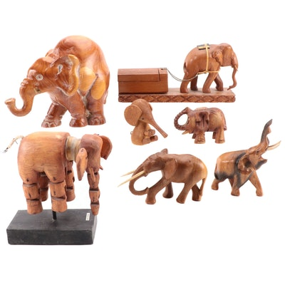 Hand Carved Elephant Pulling Logs Small Box and Other Elephant Figurines
